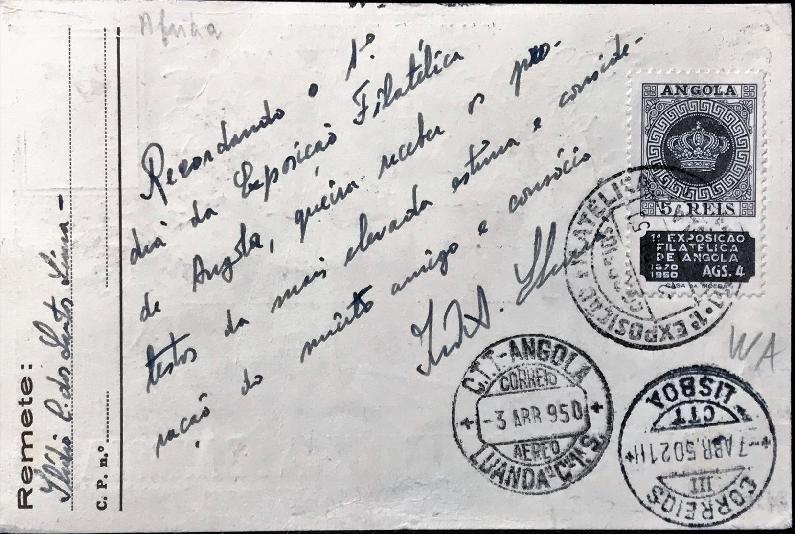 Angola Carte Postal - 1.Exposicao Filatélica De Angola - Luanda 1950 - Chile !! - Angola