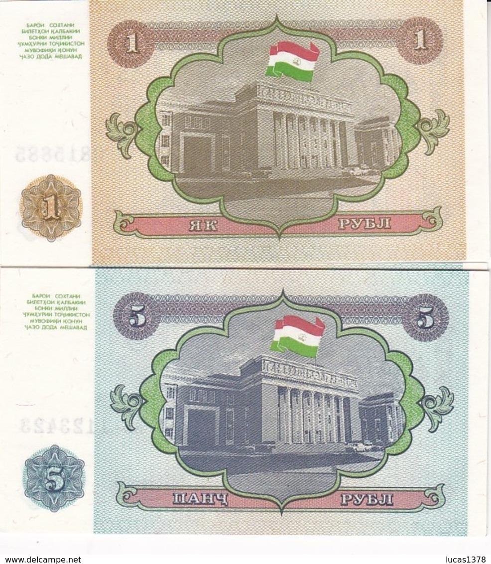 2 BILLETS TADJIKISTAN 1 ET 5 ROUBLE 1994 - Tajikistan
