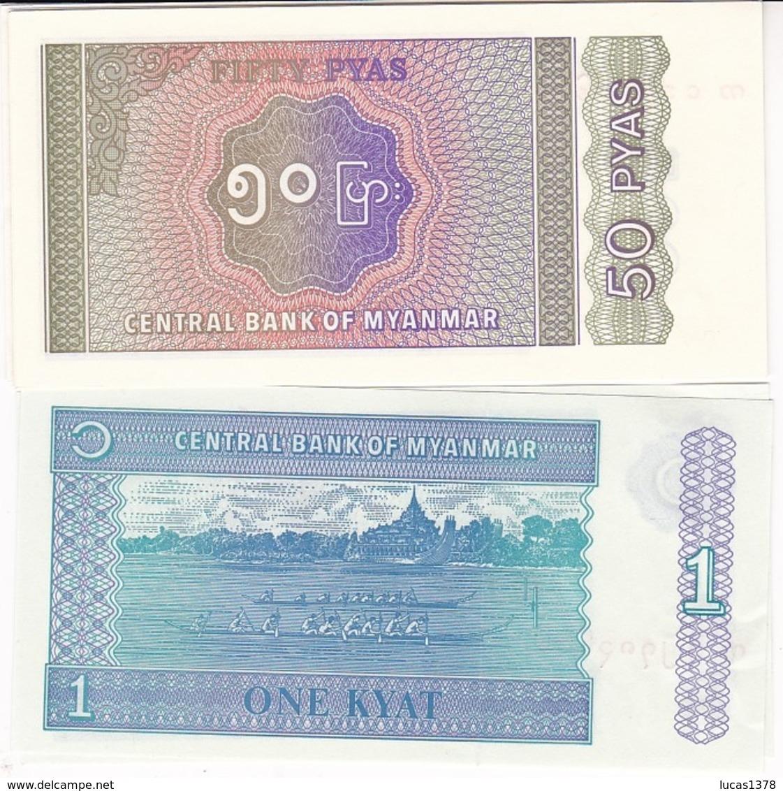 2 BILLETS MYANMAR 50 PYAS ET 1  KYAT / NEUF - Myanmar
