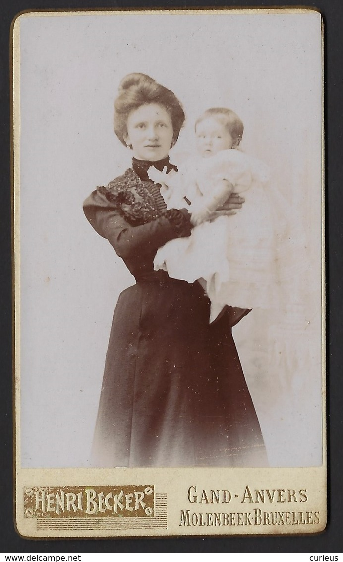 CDV * MOEDER EN BABY * FOTOGRAAF HENRI BECKER * GAND * 10.5 X 6 CM - Gent