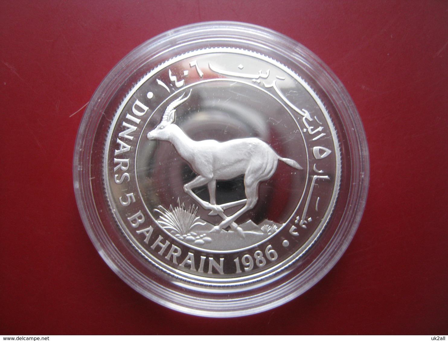 Bahrain 1986 5 Dinars Silver Proof Coin WWF With COA Card - Rhim Gazelle - Bahrain