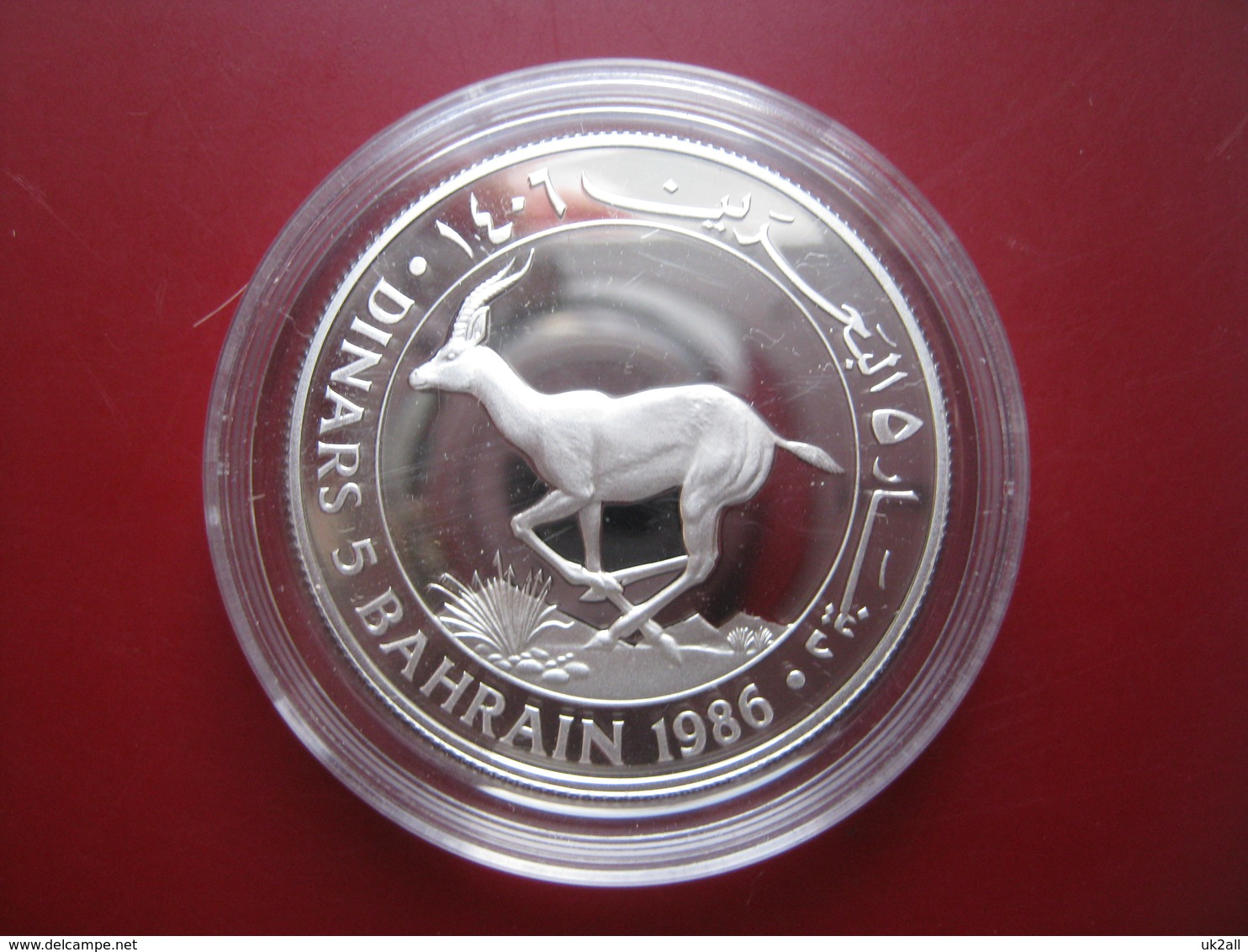 Bahrain 1986 5 Dinars Silver Proof Coin WWF With COA Card - Rhim Gazelle - Bahrein