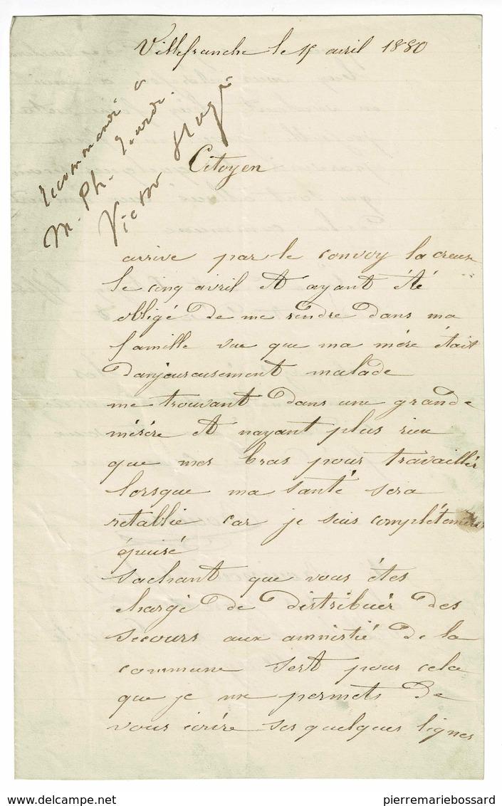 LETTRE D'UN ANCIEN CONDAMNE DE LA COMMUNE SYLVAIN BOUISSON ET AUTOGRAPHES DE VICTOR HUGO - Autographs