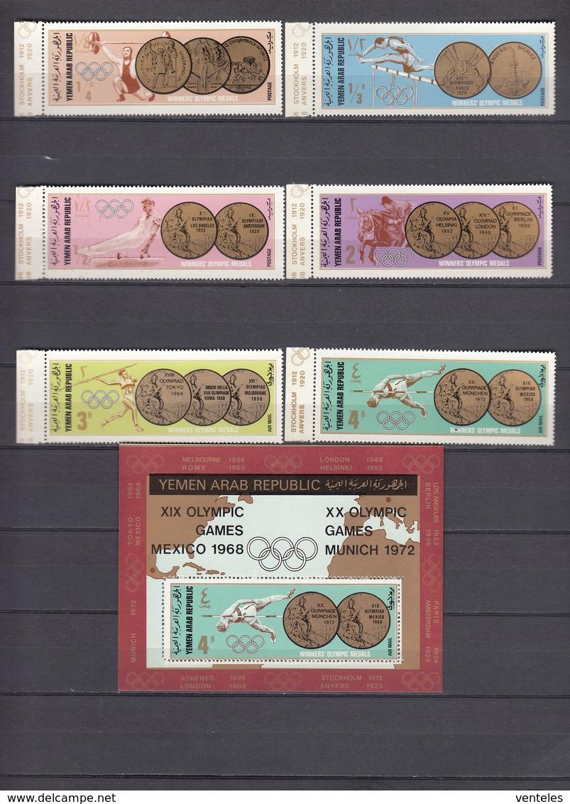 North Yemen, Y.A.R., 18.10.1968 Mi # 796-801, 803-08 Bl 78-79 Mexico City Summer Olympics, 1896-1968 Olympic Champions - Verano 1968: México