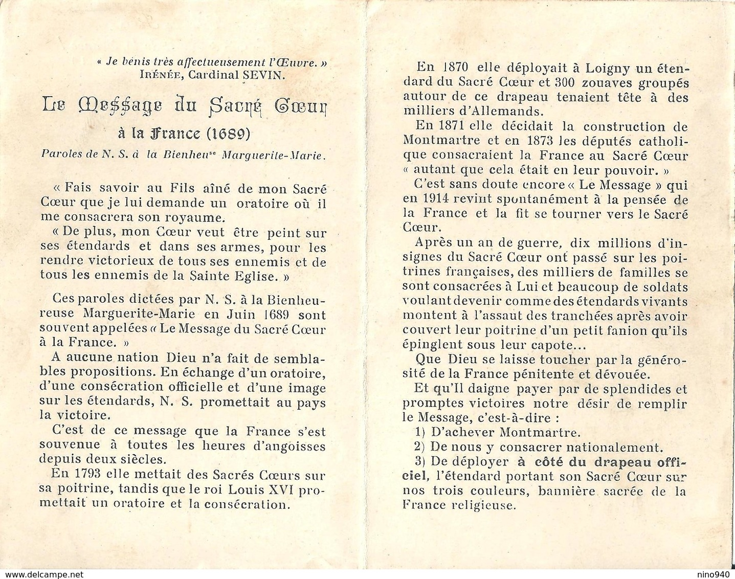 COEUR DE JESUS Espoire & Salut De La France! - E - A - Mm. 75 X 118 - Religione & Esoterismo