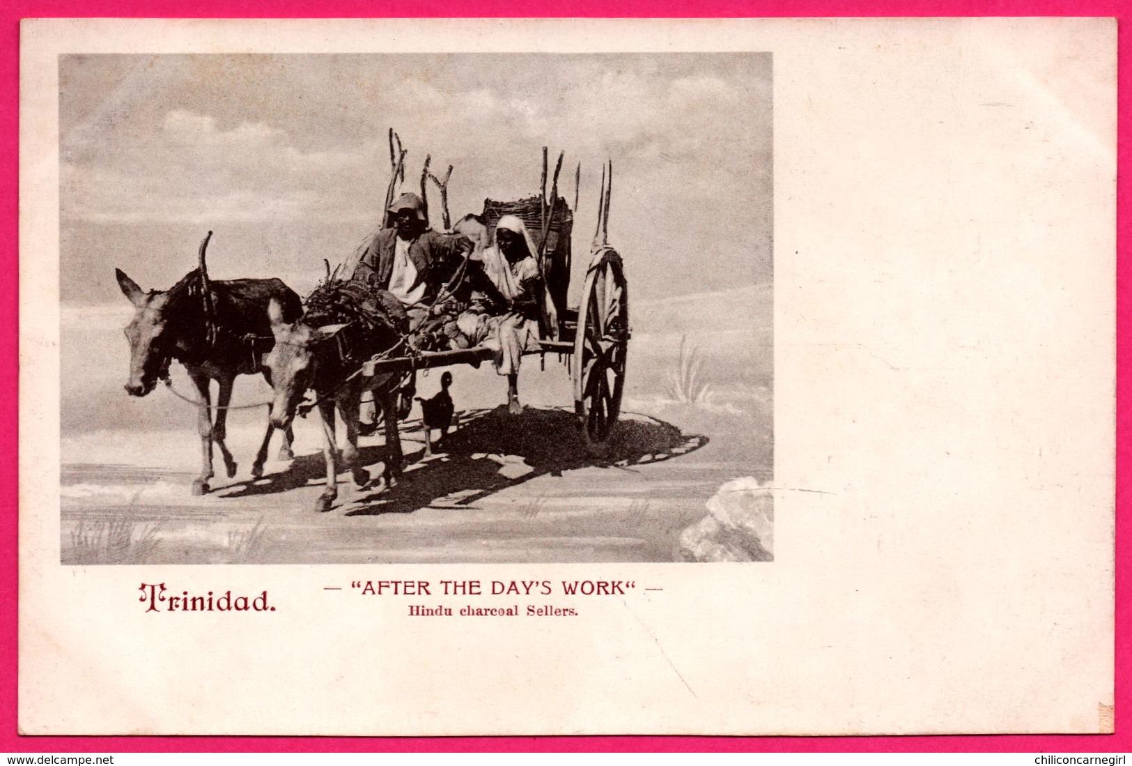 """Trinidad - """" After The Day's Work """" - Hindu Charcoal Sellers - Vendeurs De Charbon De Bois Hindou - Animée - Trinidad"""