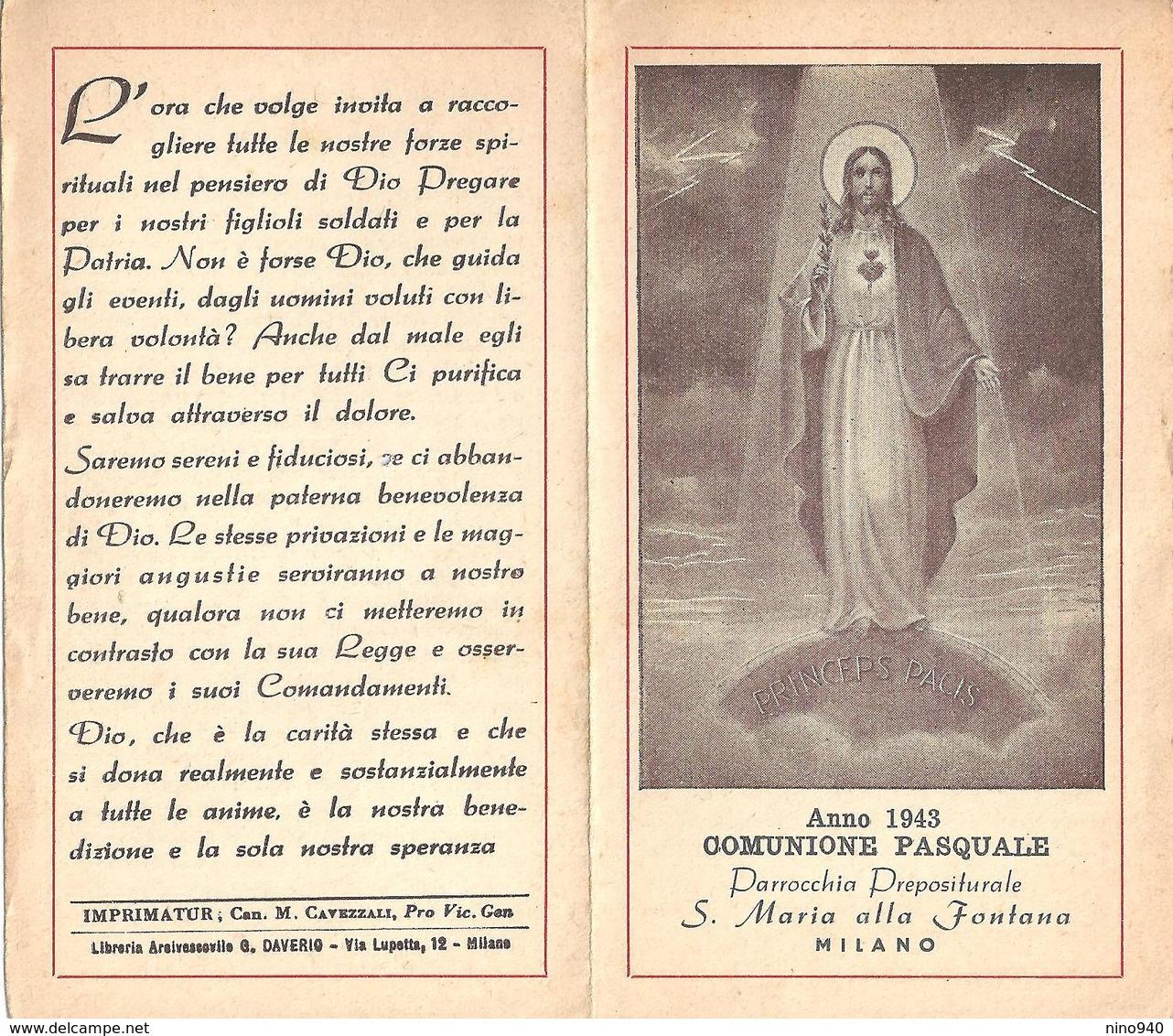 COMUNIONE PASQUALE - MILANO - Parr. S. Maria Alla Fontana- 1943 - A - Mm. 70 X 122 - Religione & Esoterismo