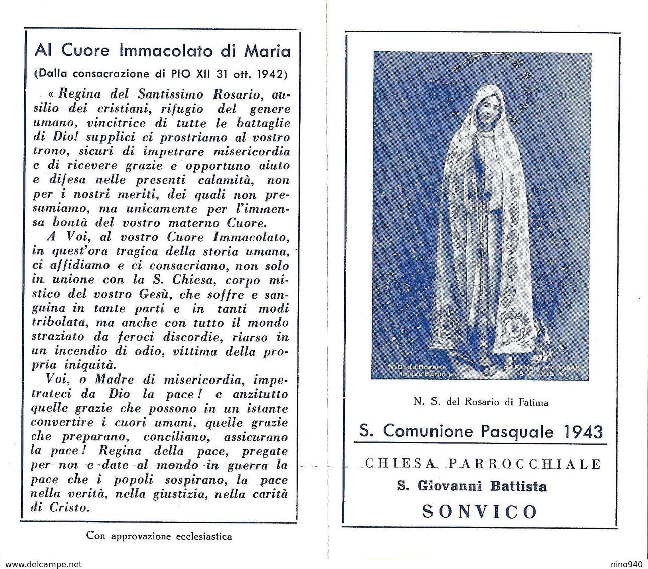 COMUNIONE PASQUALE - SONVICO - Parr. S. Giovanni Battista -  1943 - A - Mm. 70 X 120 - Religione & Esoterismo