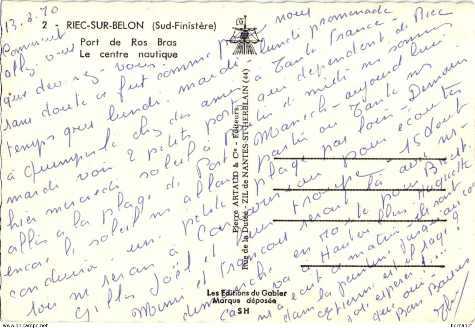 29 .. RIEC SUR BELON ... PORT DE ROS BRAS ... LE CENTRE NAUTIQUE  ..1970 - France