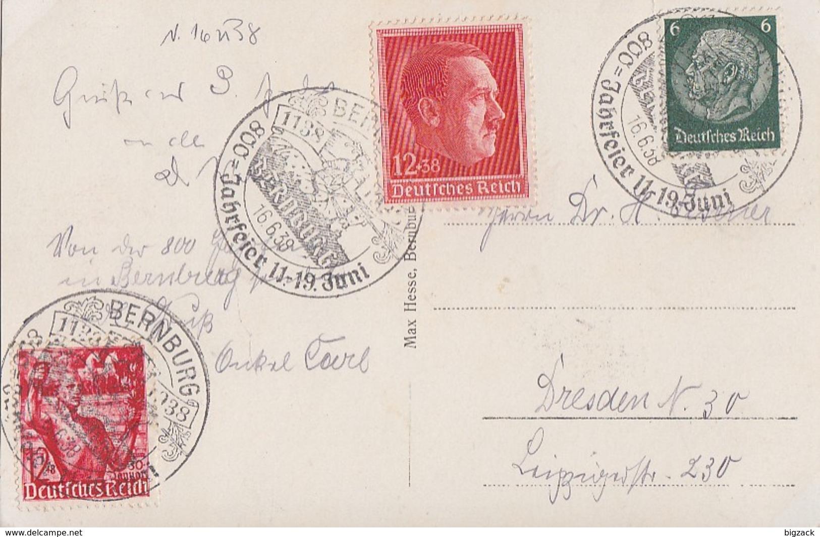 DR AK Bernburg Mif Minr.516,661,664 SST Bernburg 16.6.38  800 Jahrfeier - Deutschland