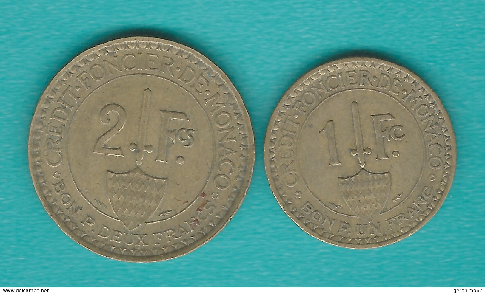 Monaco - Louis II - 1926 - 1 & 2 Francs - KM114 & KM115 - Monaco