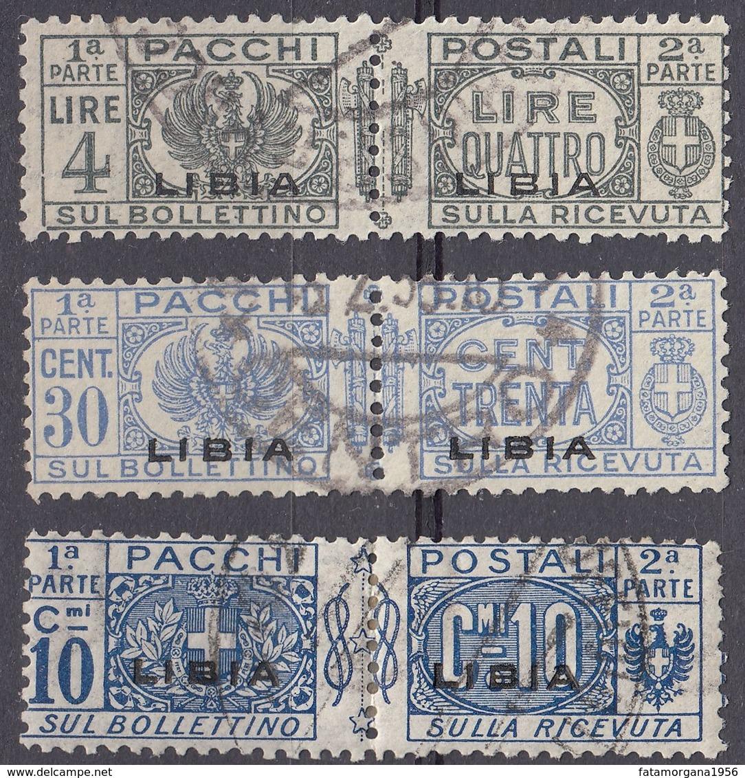 LIBIA (COLONIA ITALIANA)  - Lotto Di Tre Valori Usati: Yvert Pacchi 2, 16 E 21, Come Da Immagine. - Libyen