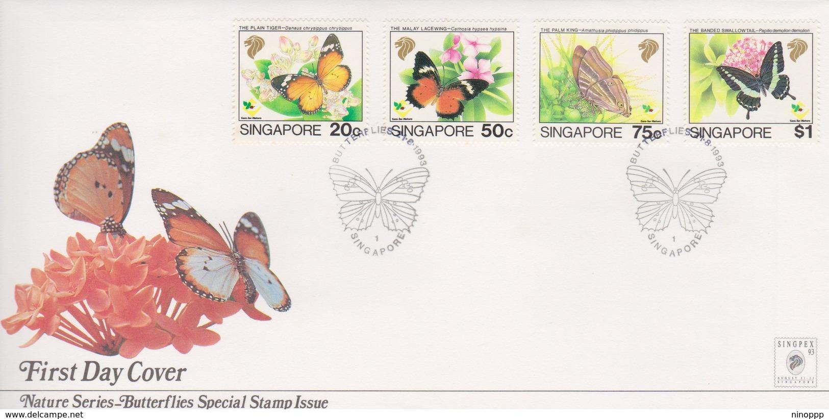 Singapore 1993 Butterflies FDC - Singapore (1959-...)