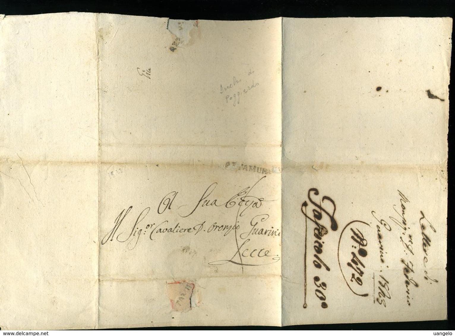 216 PREFILATELICA ALTAMURA PER LECCE 1823 TRA DUCHI DI POGGIADRO CON TESTO - 1. ...-1850 Prefilatelia