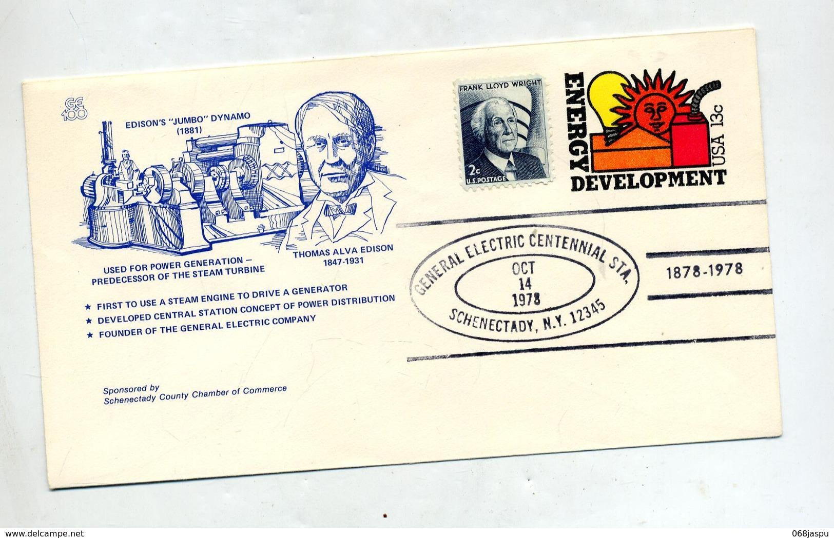 Lettre Entiere  13 C Energie  Cachet Schenectady Illustré Edison - Entiers Postaux