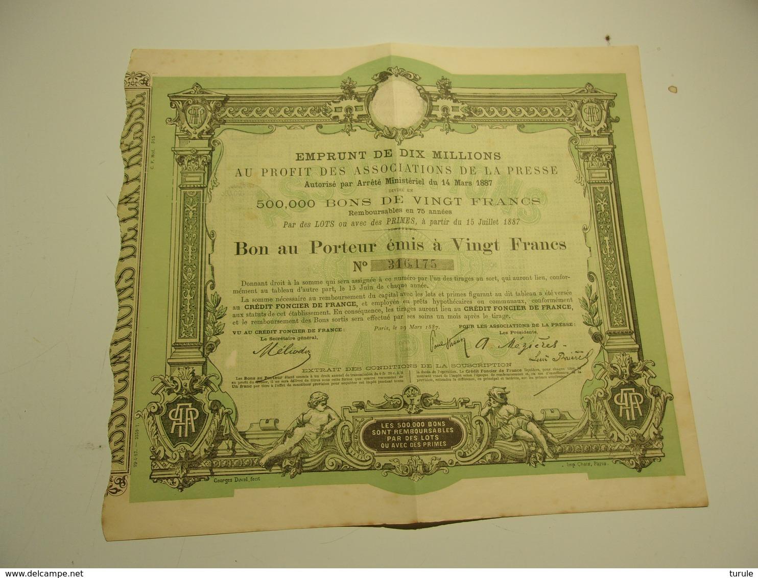 EMPRUNT DE DIX MILLIONS (1887)  Au Profit Des Associations De La Presse - Aandelen