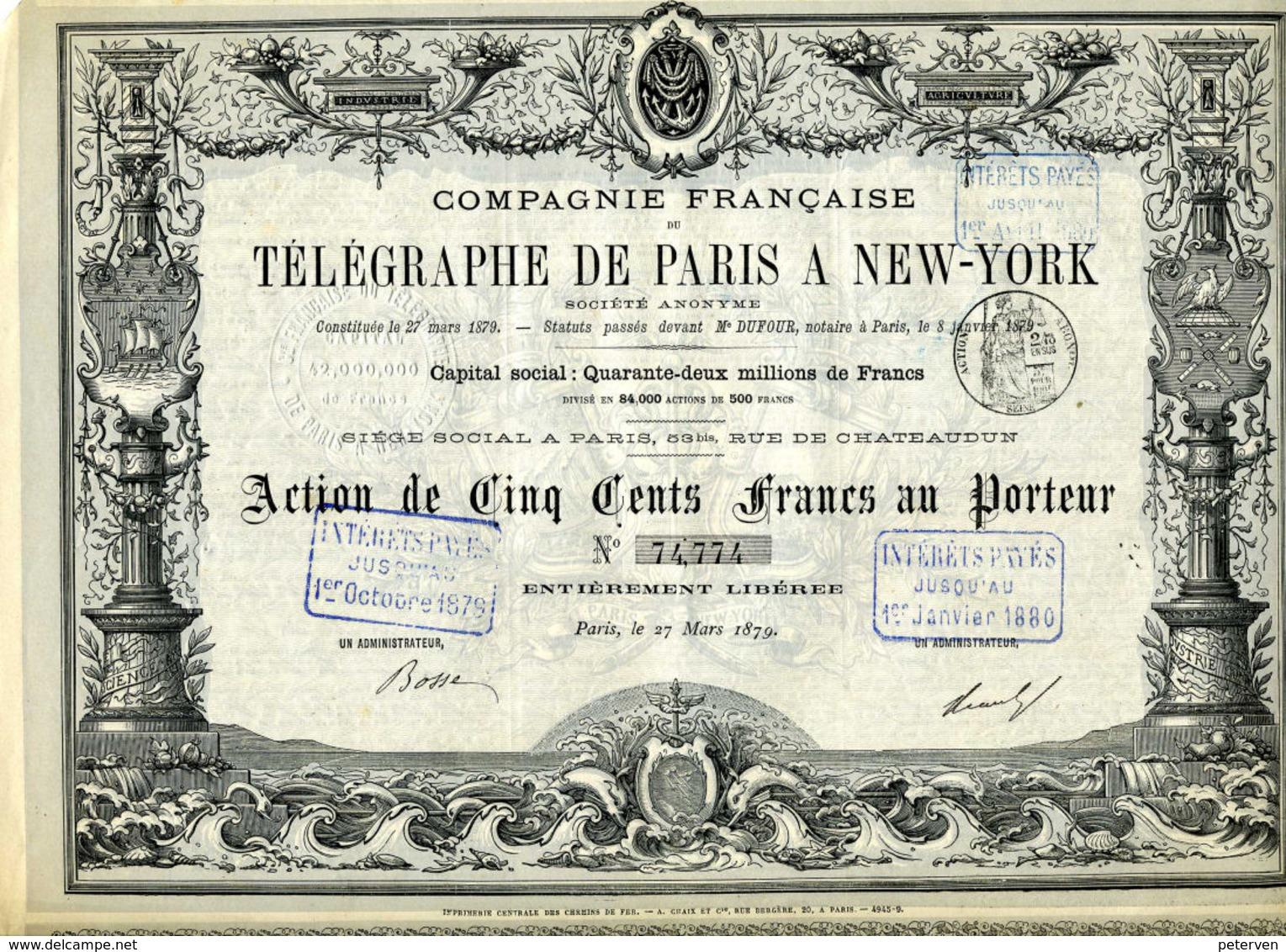 Francaise De TÉLÉGRAPHIE De PARIS à NEW YORK - Electricité & Gaz