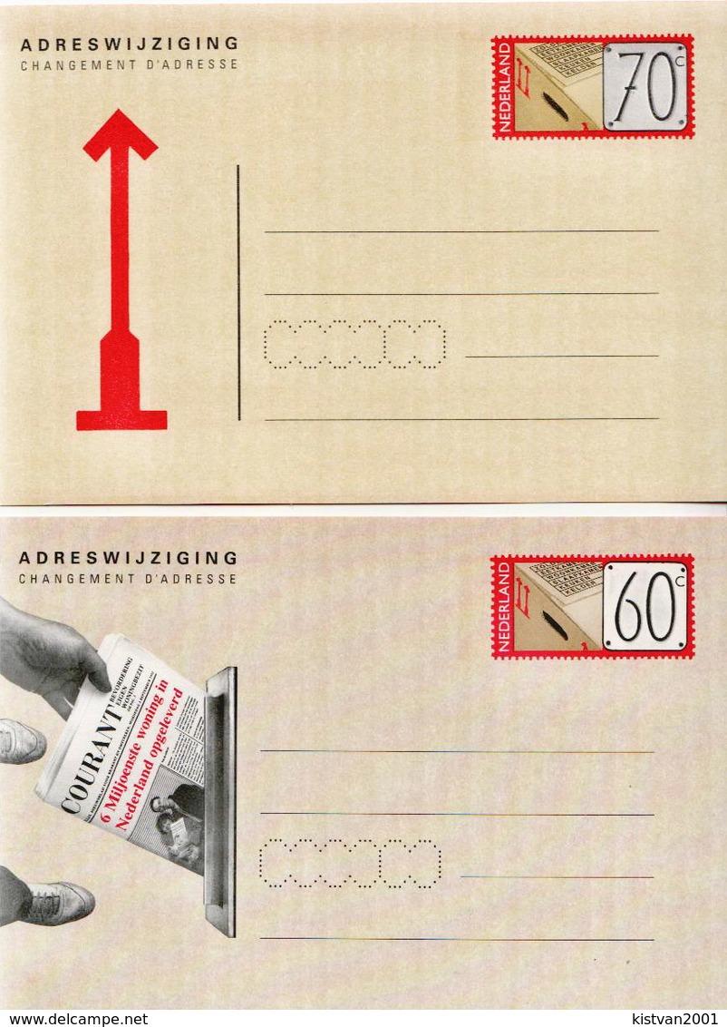 Netherlands 2 Mint Address Change Cards - Postal Stationery