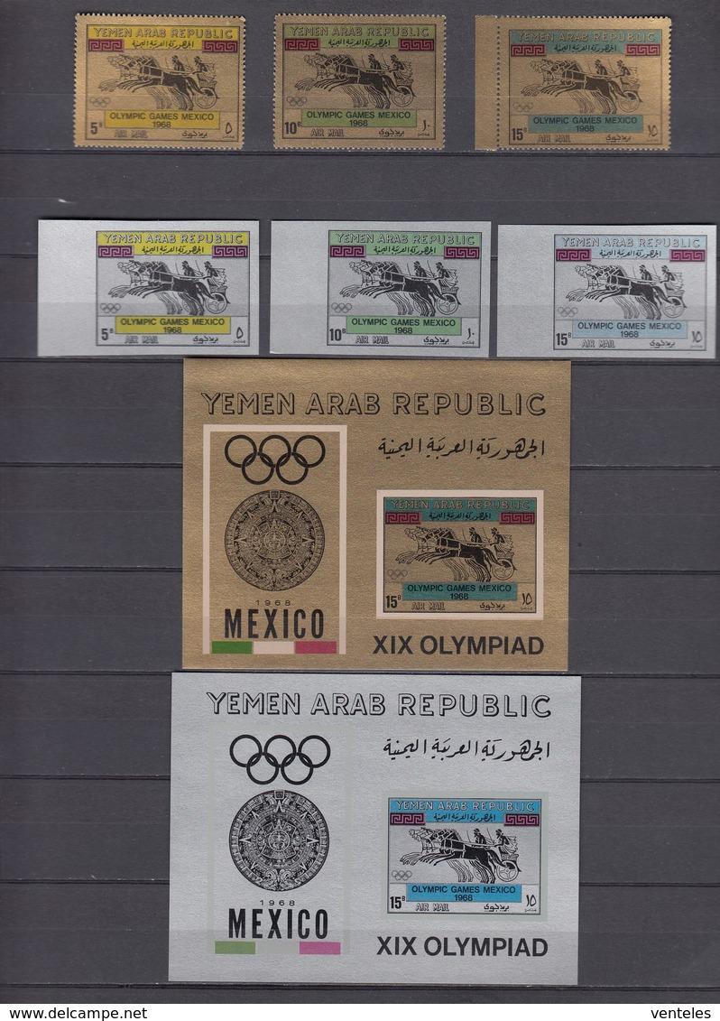 North Yemen, Y.A.R. 02.07.1968 Mi # 742-44, 745-47 Bl 71-72 Mexico City Summer Olympics (I), MNH OG - Verano 1968: México