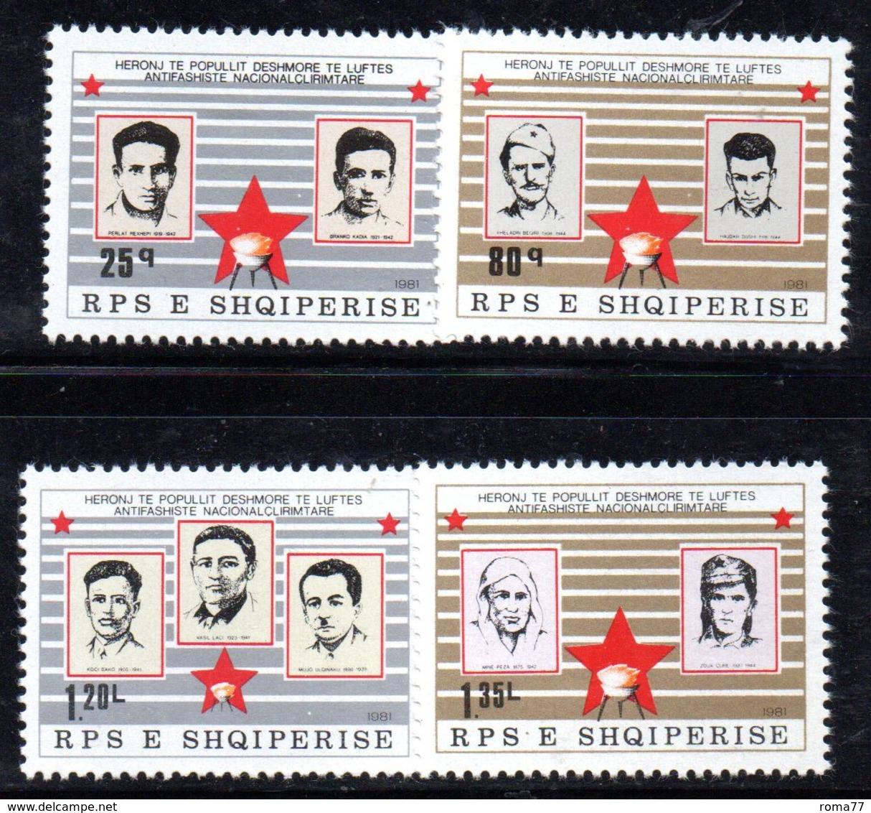 XP3979 - ALBANIA 1981 , Yvert Serie N. 1894/1897  *** Martiri - Albania