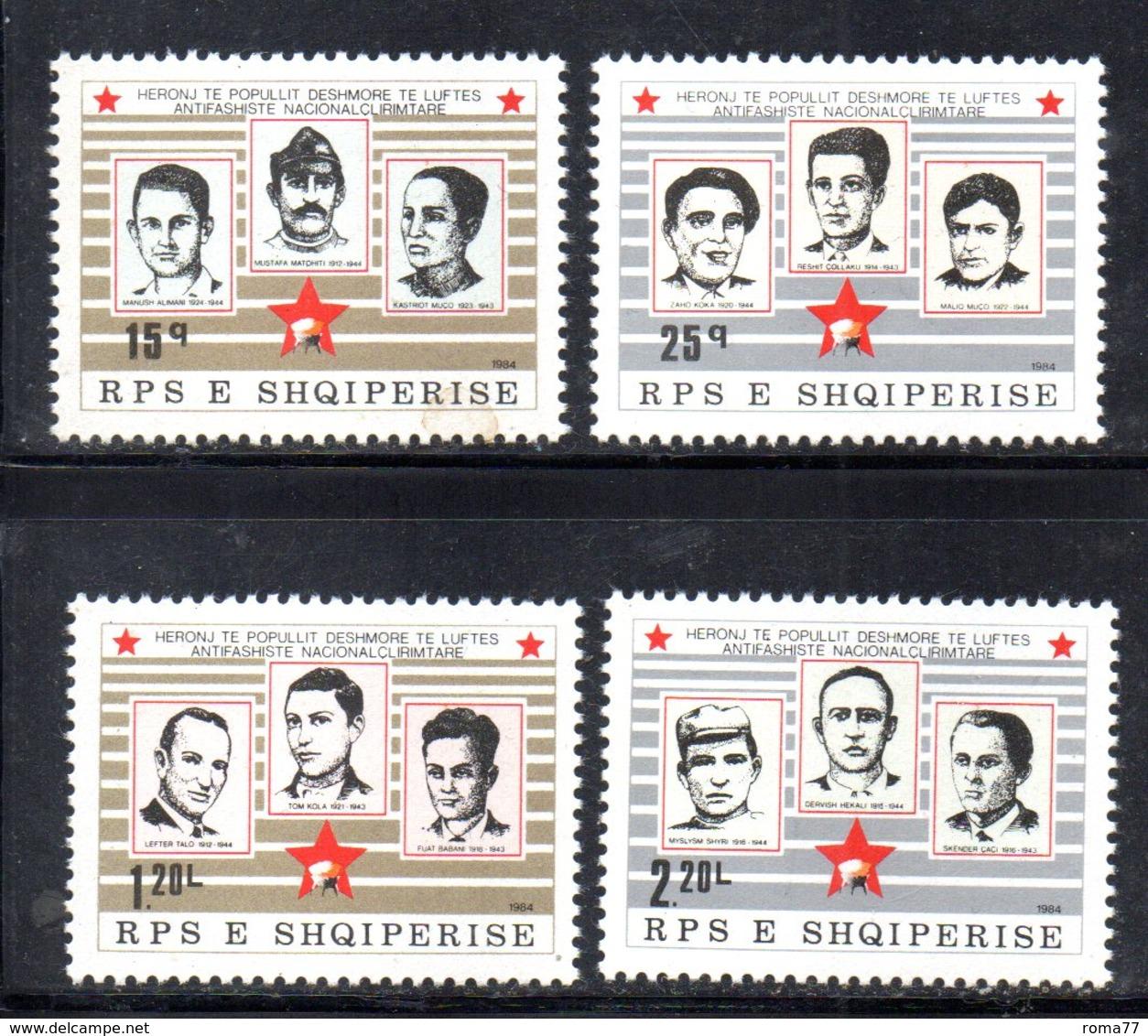 XP3998 - ALBANIA 1984 , Yvert Serie N. 2012/2015  *** Martiri - Albania