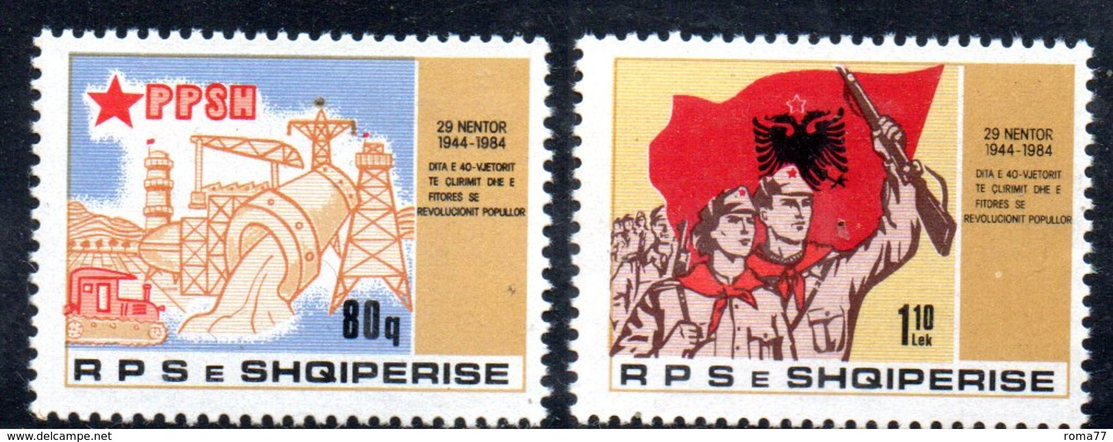 XP4001 - ALBANIA 1984 , Yvert Serie N. 2049/2050  *** Rivoluzione - Albania