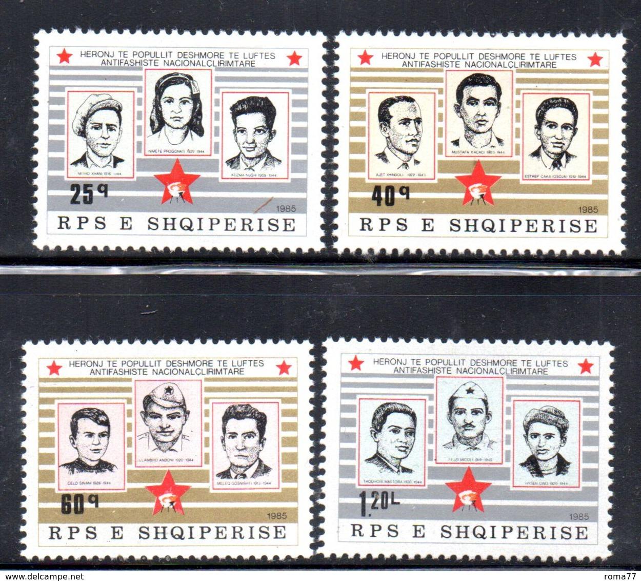 XP4005 - ALBANIA 1985 , Yvert Serie N. 2066/2069  ***  Martiri - Albania