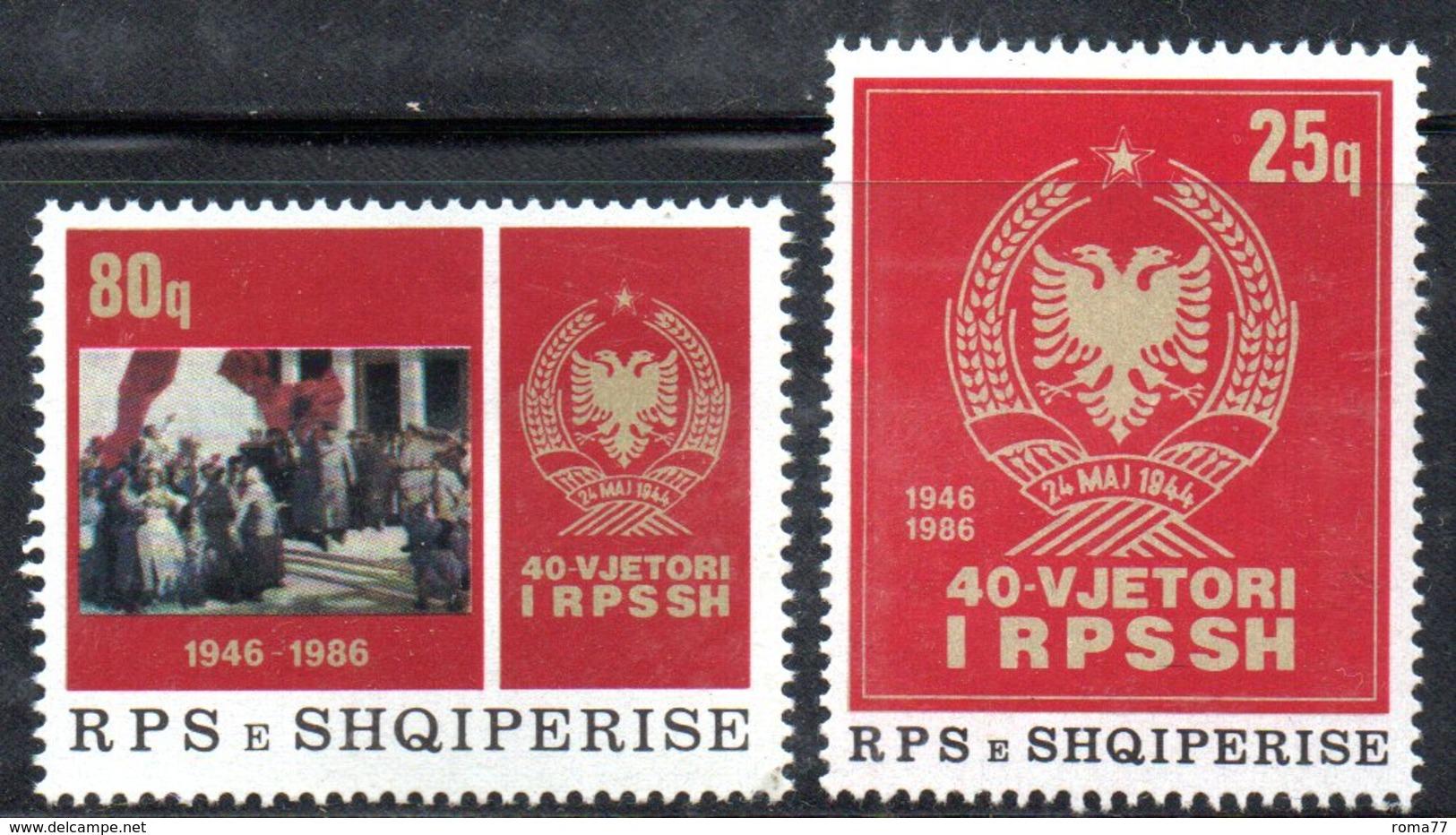 XP4007 - ALBANIA 1986 , Yvert Serie N. 2092/2093  ***  Anniversario - Albania