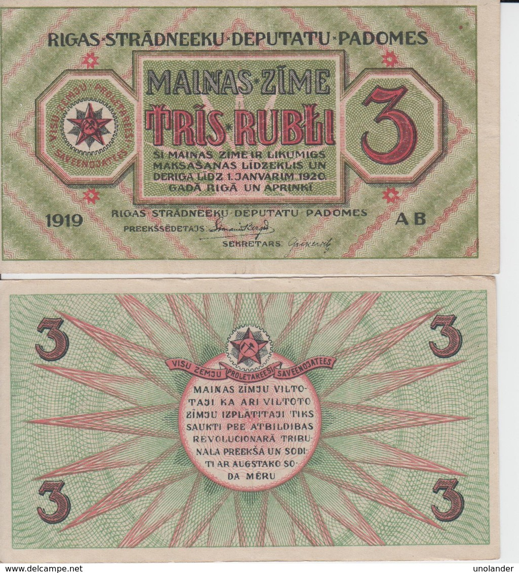 LATVIA 3 Rubli P R2 1919 AUNC- -- XF+ - Lettonie