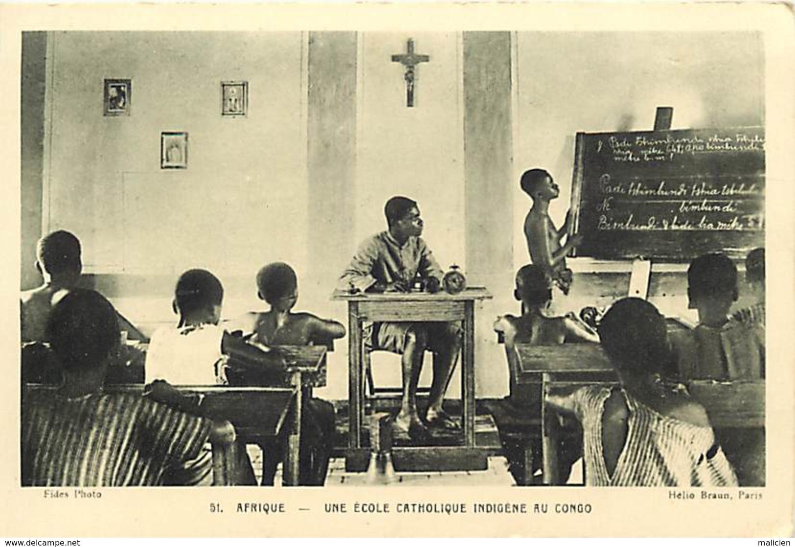 -ref-B265- Afrique - Congo - Ecole Catholique Indigène - Ecoles - Enseignement - Missions - Religions - - Congo - Brazzaville