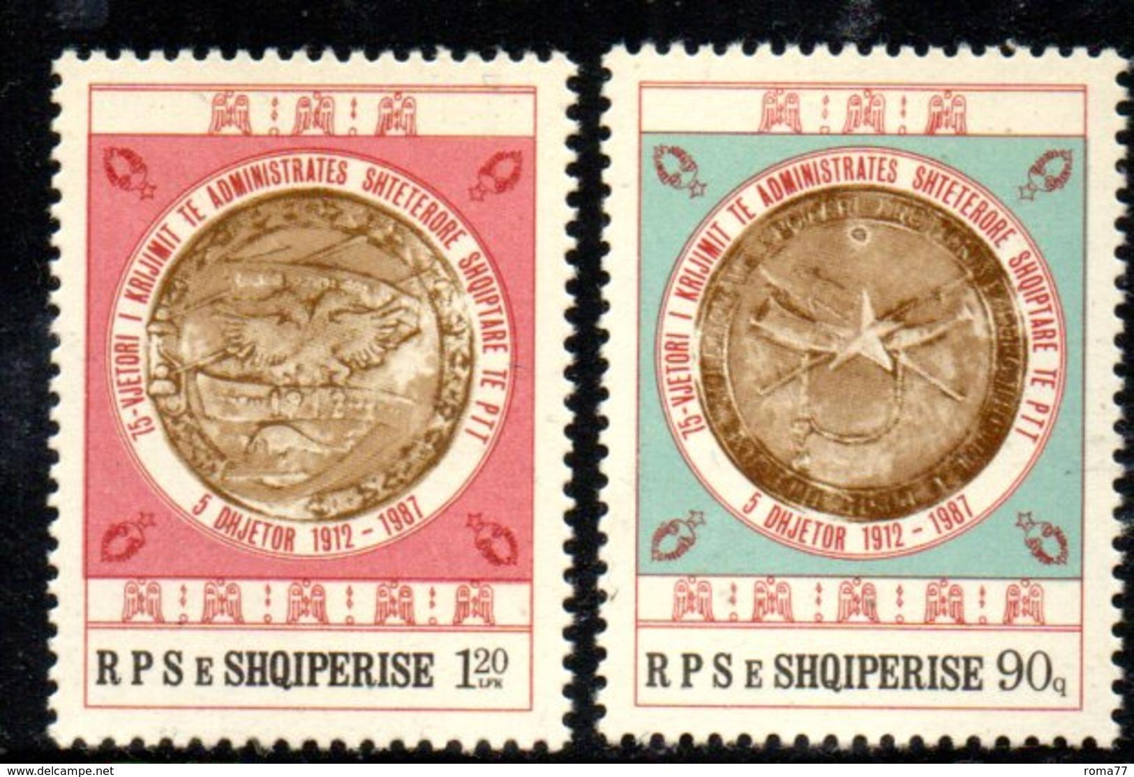 XP4021 - ALBANIA 1987 , Yvert Serie N. 2157/2158  ***  Ptt - Albania