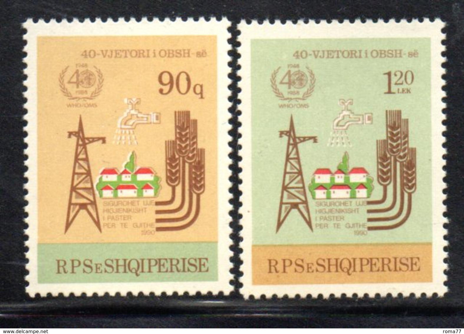 XP4023 - ALBANIA 1988 , Yvert Serie N. 2161/2162  *** Oms . Difficile - Albania
