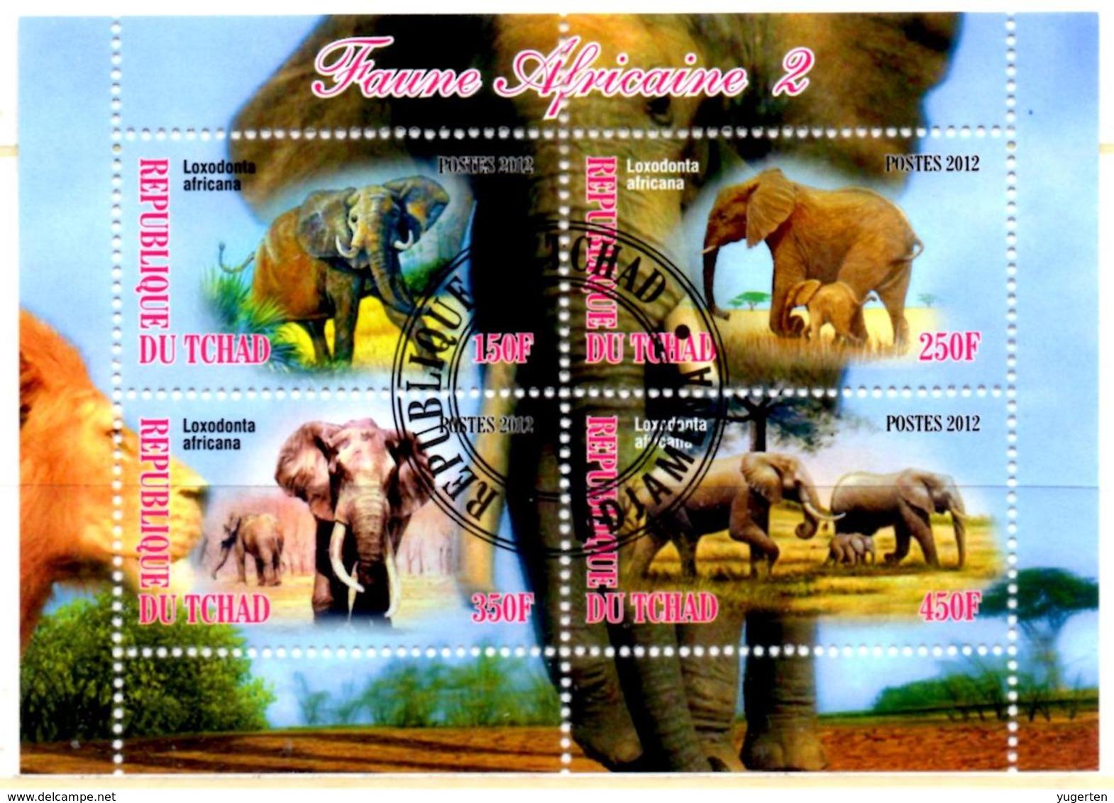 TCHAD CHAD BF Cinderella Mini Sheet Cancelled Elephants  Elefanti Elefanten Elefantes Mammals Animals - Olifanten