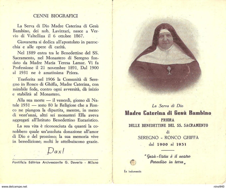 S.D.D. CATERINA DI GESU' BAMBINO -  CON RELIQUIA - A - Mm. 77 X 125 - Religione & Esoterismo