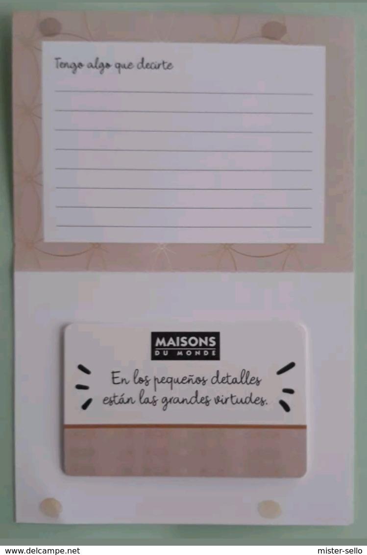 TARJETA REGALO DE MAISONS DU MONDE CON CARTERITA. - Tarjetas De Regalo
