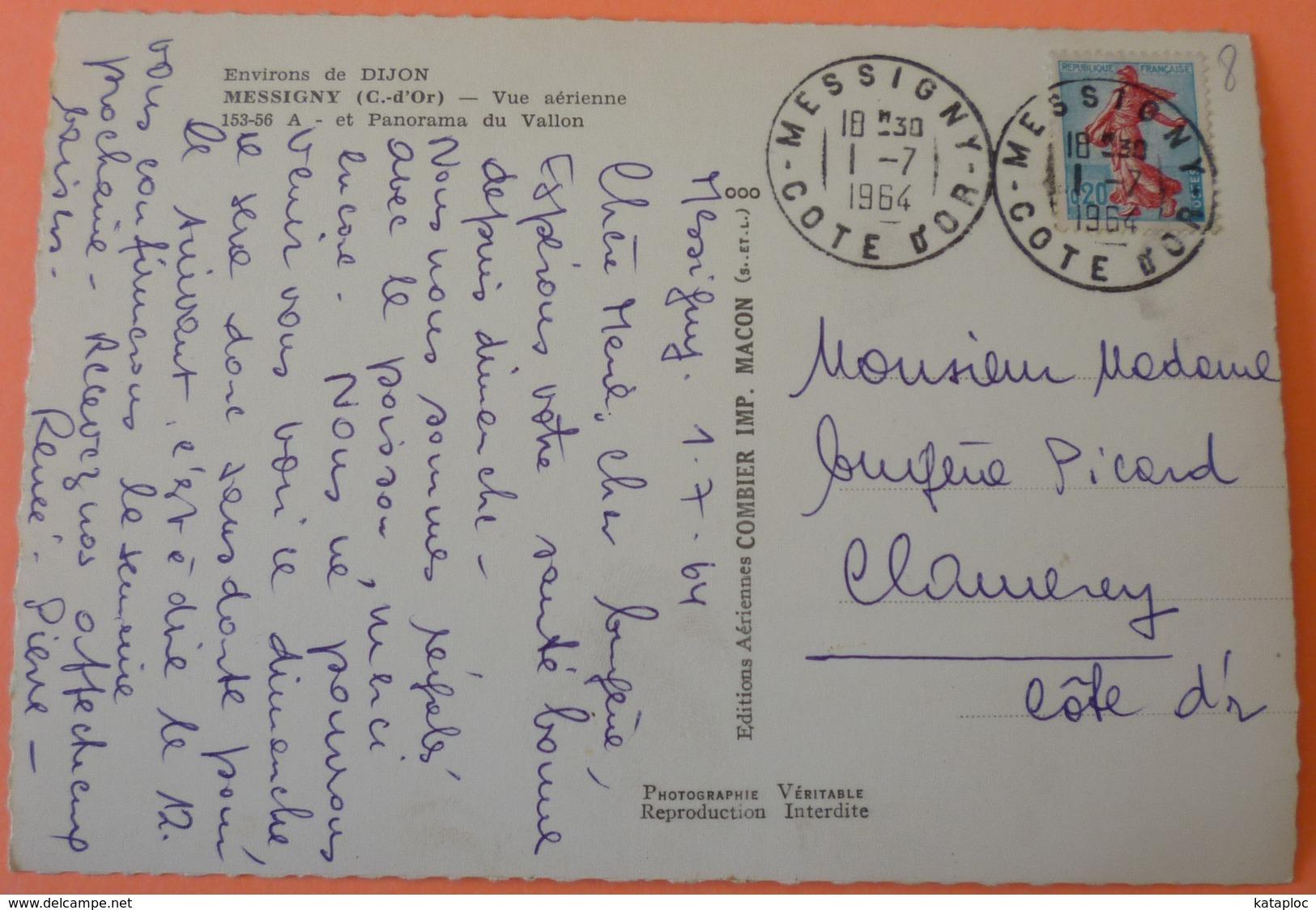 CARTE MESSIGNY - 21 - VUE AERIENNE - 1964 - SCAN RECTO/VERSO - France