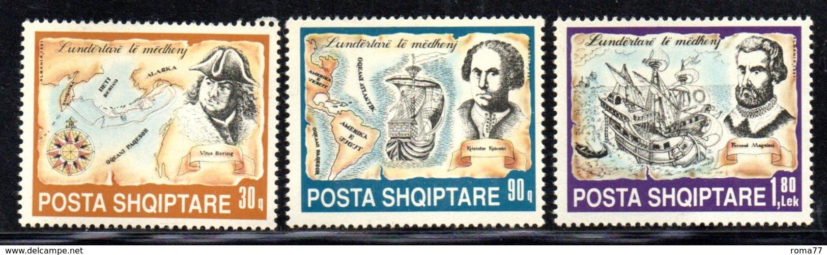 XP4031 - ALBANIA 1991 , Yvert Serie N. 2267/2269  ***  Navigatori - Albania