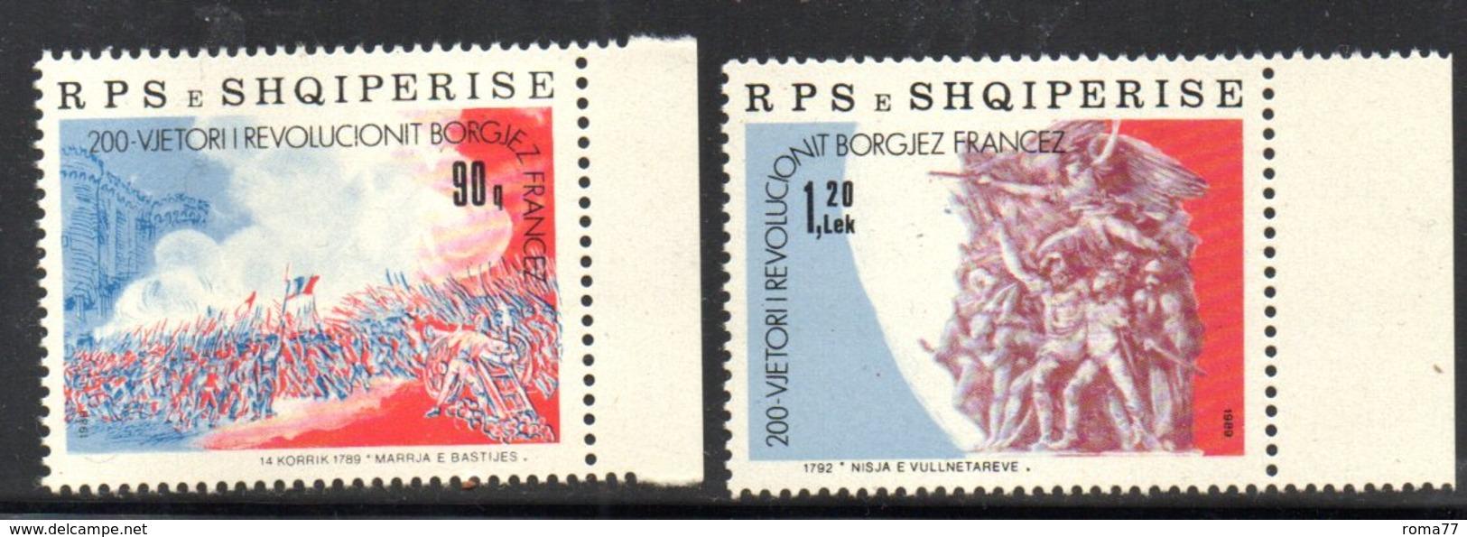 XP4036 - ALBANIA 1989 , Yvert Serie N. 2195/2196  ***  Rivoluzione Francese - Albania