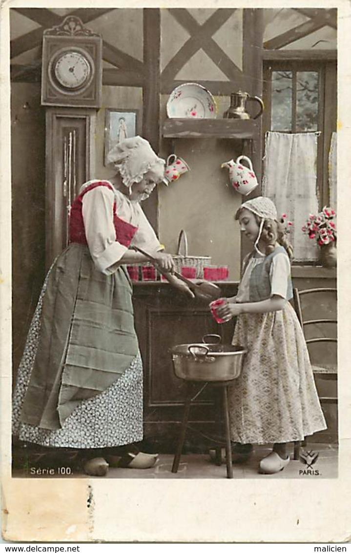 -ref-B215- Recettes - Cuisine - Confiture  - Confitures - Fillette Et Grand Mère - Fantaisies - Carte Bon Etat - - Recettes (cuisine)