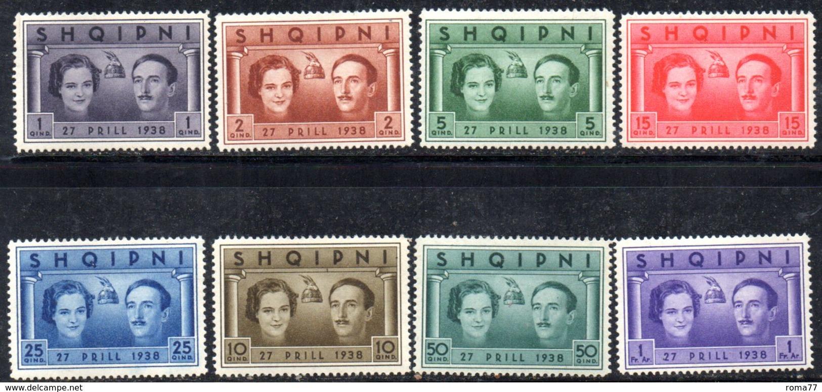 XP4057 - ALBANIA  1938 , Yvert Serie N. 241/248  ***  Matrimonio Reale - Albania