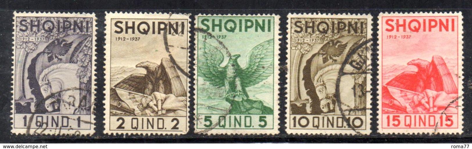 XP4059 - ALBANIA  1937 , Cinque Valori Usati - Albania