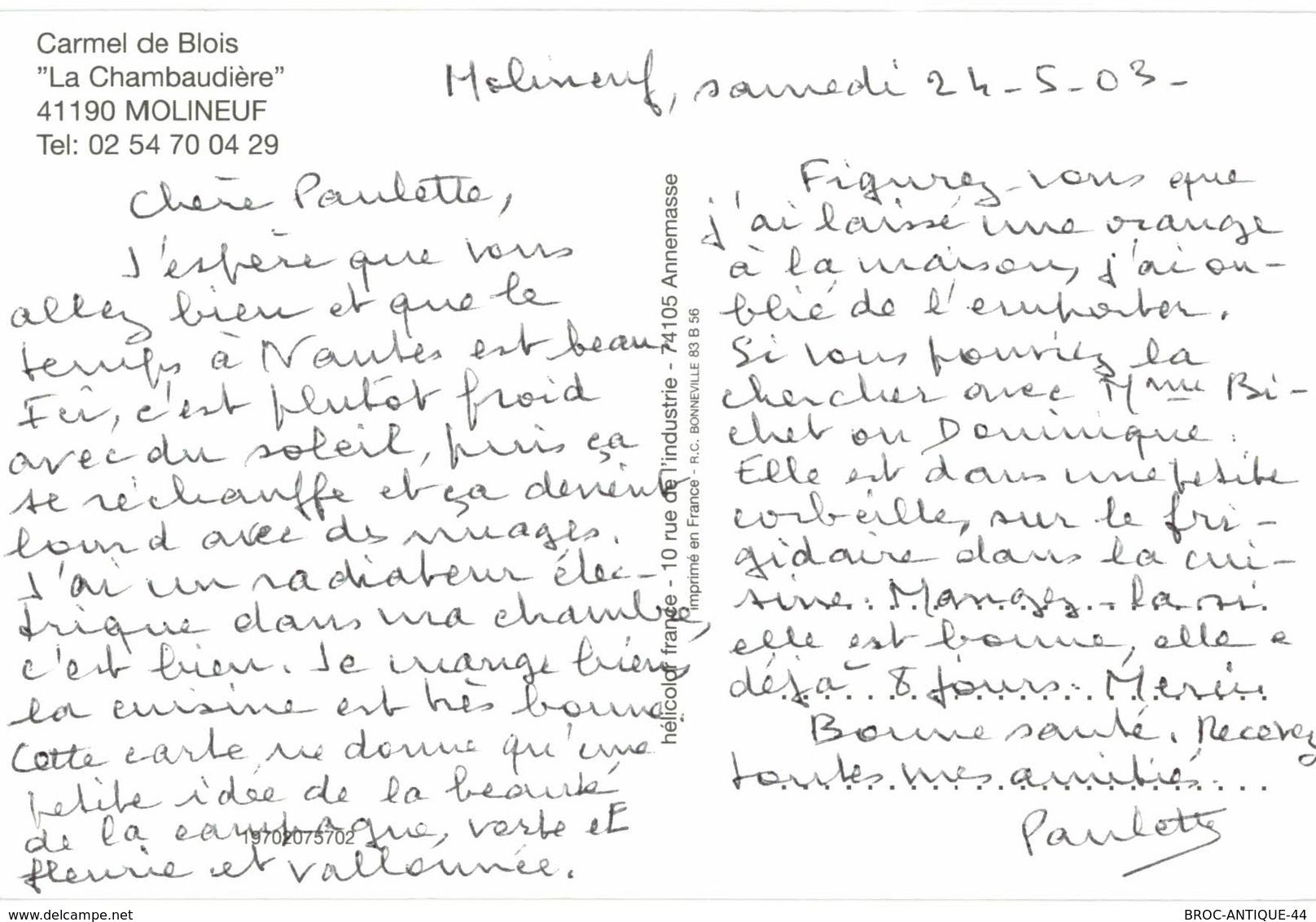 CPM* N°515 - LOT DE 2 CARTES DE MOLINEUF - CARMEL DE BLOIS - LA CHAMBAUDIERE + VUE AERIENNE - Andere Gemeenten