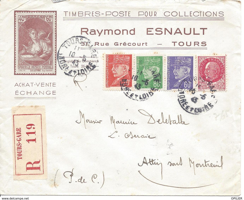TOURS GARE 10 5 1943 RECOMMANDE Tarif 4.50F Timbre Pétain 0.70F N°511 + 60c N°509 + 2.40F N° 519 + 80c N°513 - 1941-42 Pétain