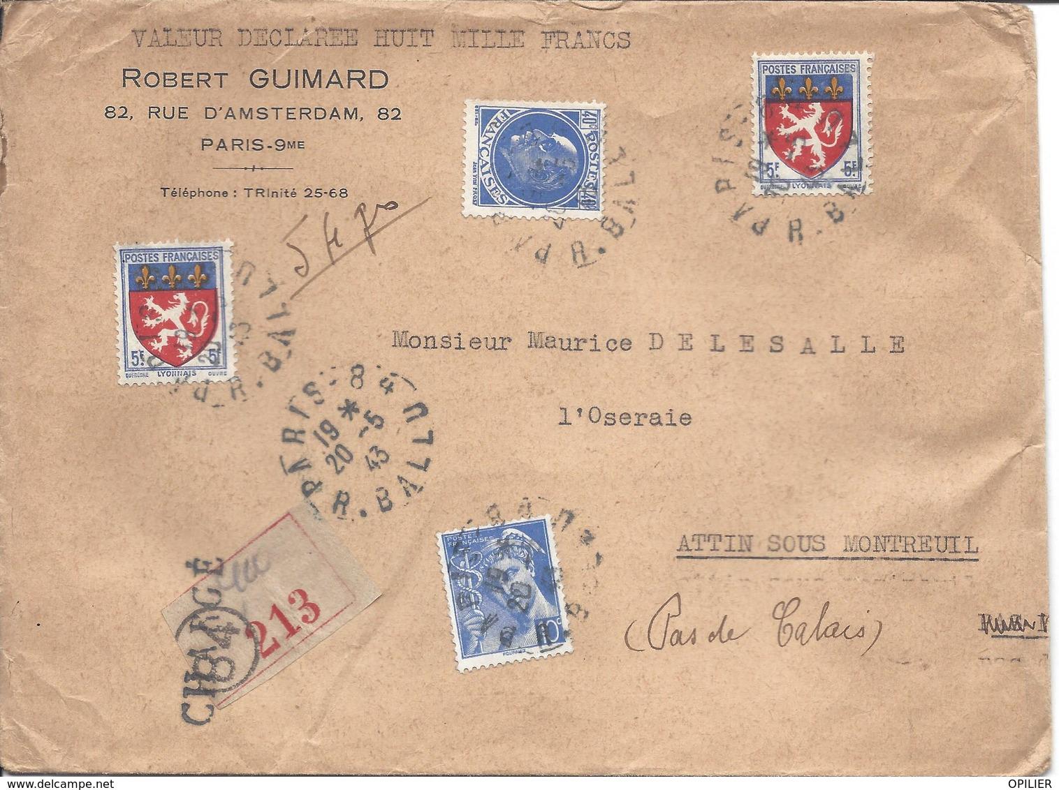 PARIS 84 CHARGE 8000F Pour Attin Timbres Pétain 240c N°507 + Mercure 10c N°549+ Blason Lyonnais X2 Tarif 10.50 Poids 54g - 1941-42 Pétain