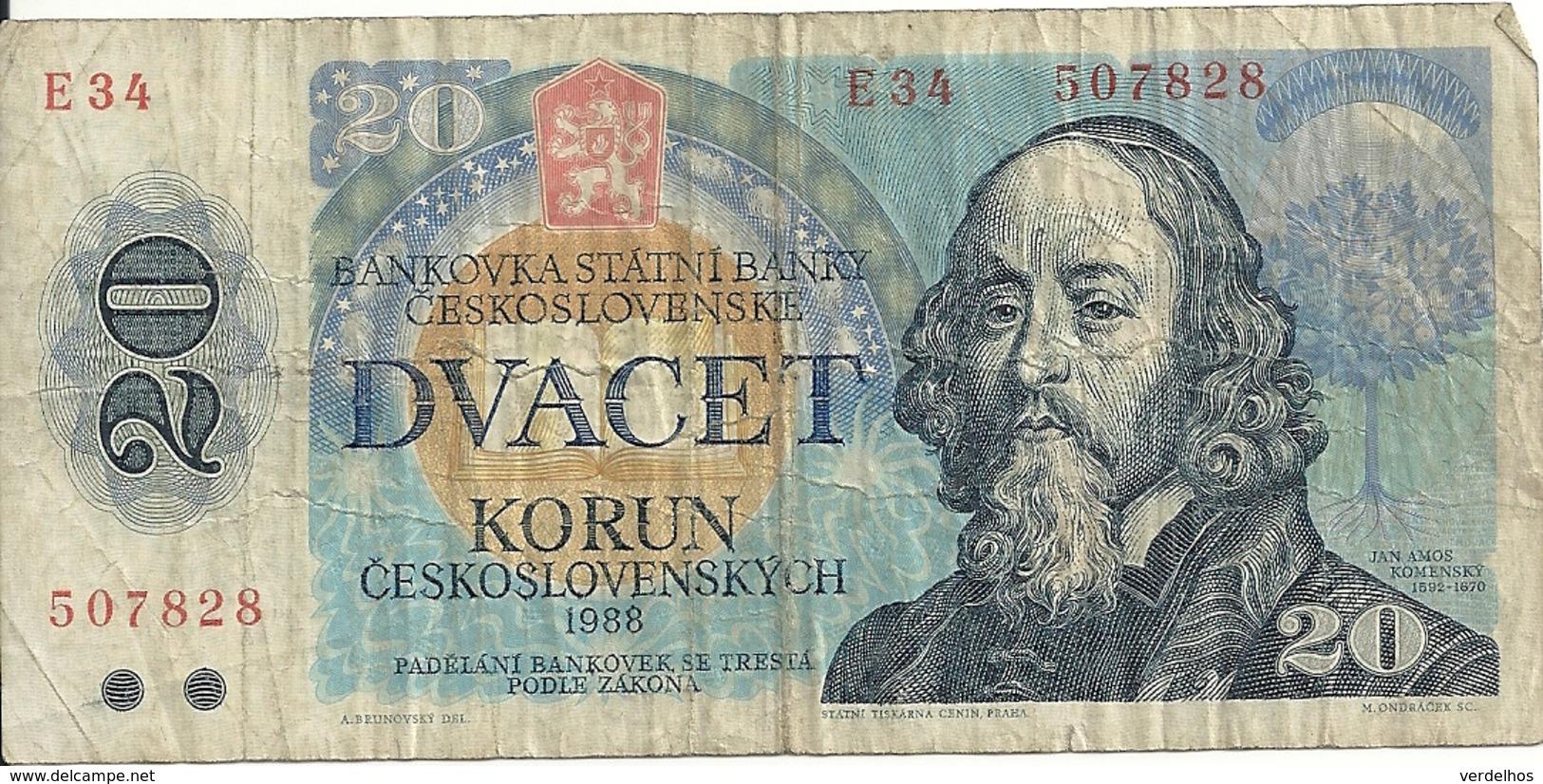 TCHECOSLOVAQUIE 20 KORUN 1988 VG+ P 95 - Tchécoslovaquie