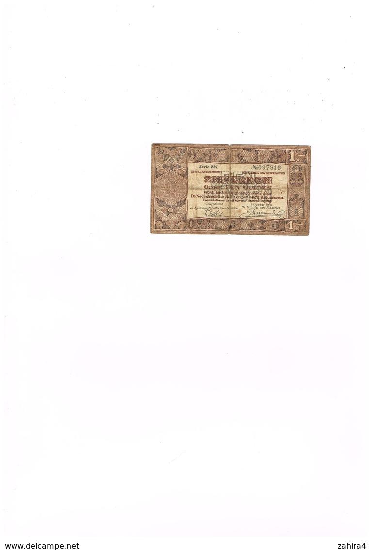 1 - Serie BN N° 097816 - Zilverbon Groot Een Guiden  1 October 1938 - 1 Gulden