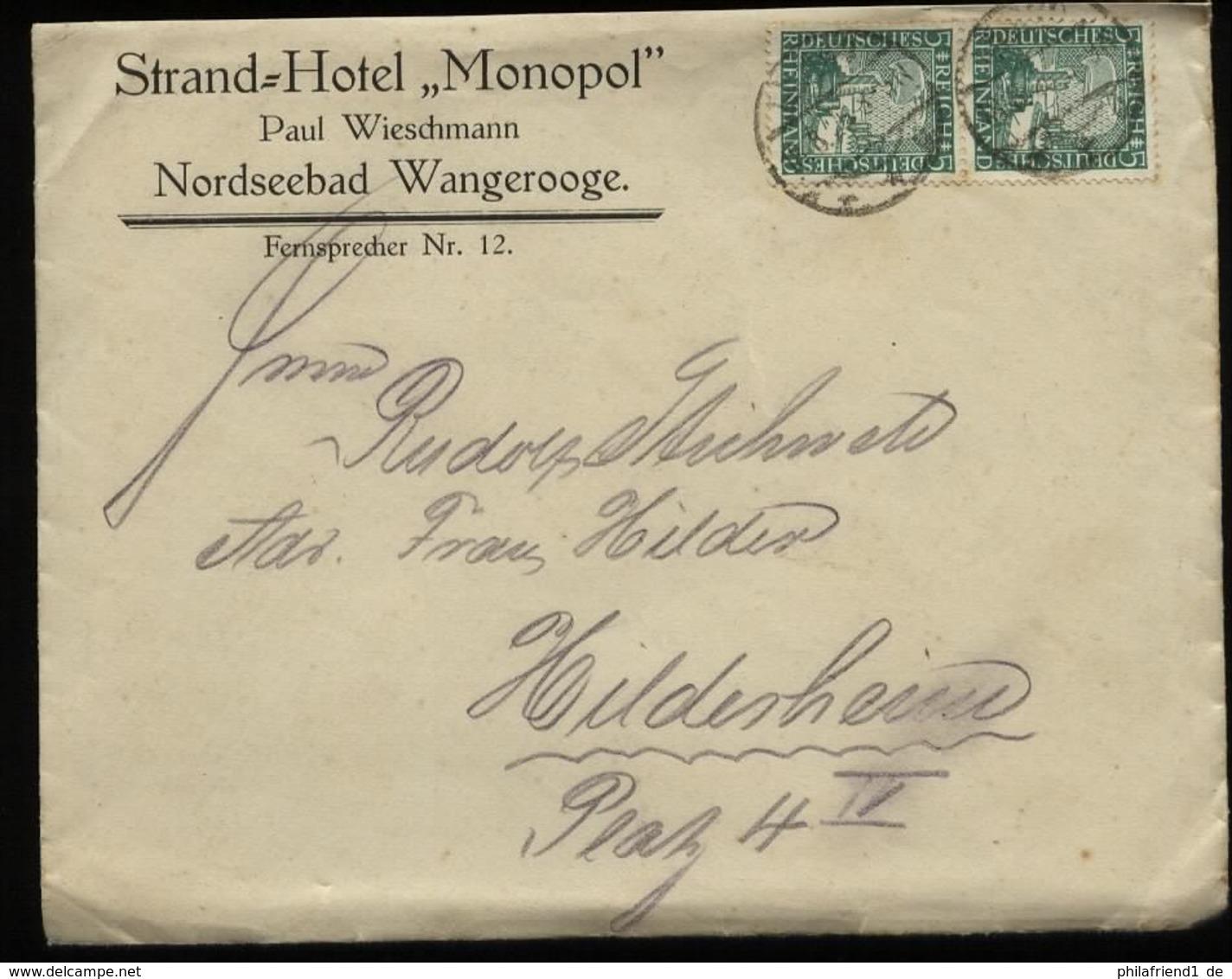 S5460 - DR Firmen Brief Hotel Monopol Wangerooge: Gebraucht Wangerooge - Hildesheim 1925 , Bedarfserhaltung. - Deutschland