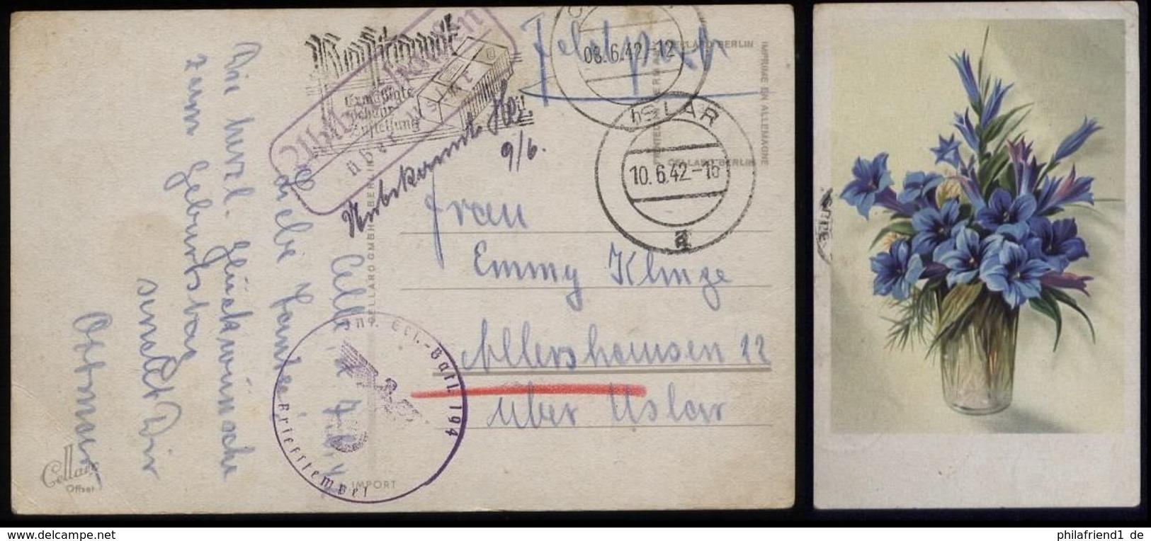 P0113 - DR Propaganda Postkarte Enzian Mit Landpoststempel : Gebraucht Mit Feldpost Ahlbershausen über Uslar - Allersh - Germany