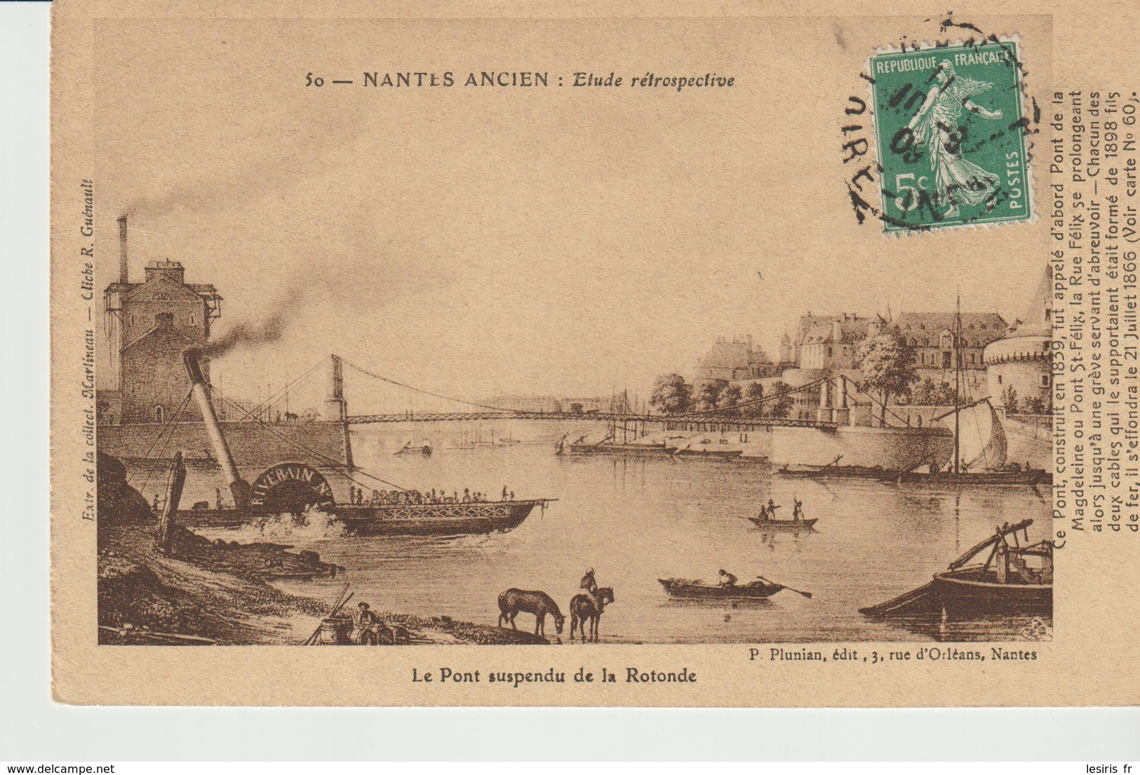 CPA  - NANTES ANCIEN - ETUDE RÉTROSPECTIVE - 50 - LE PONT SUSPENDU DE LA ROTONDE - P. PLUNIAN - MARTINEAU - R. GUENAULT - Nantes