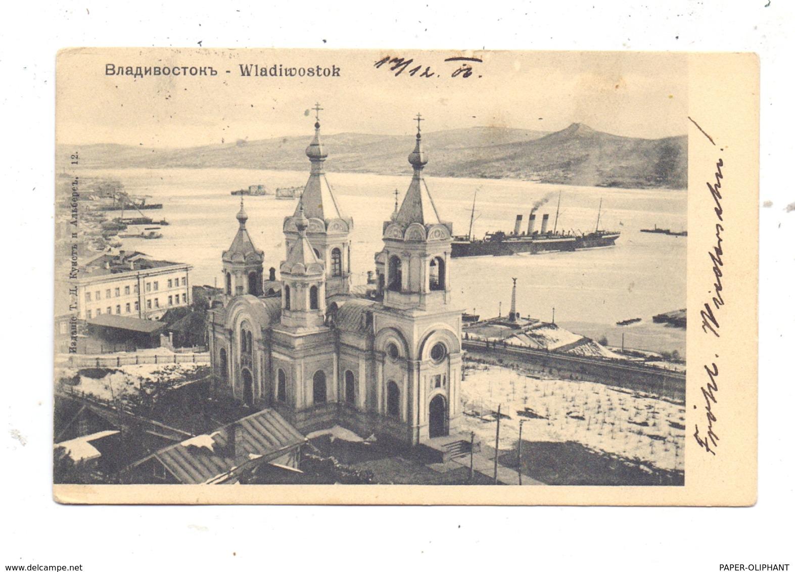 RU 690000 WLADIWOSTOK, Kirche Und Hafen, 1906, TPO, Bahnpost - Russland